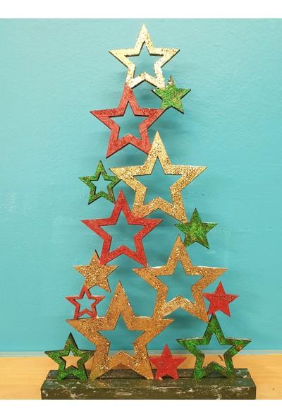 Markakanvas Dekoratif YeniYıl Yılbaşı Çam ağacı Yıldızlar