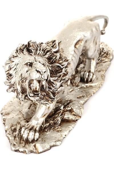 Mossa Home Gümüş Dekoratif Aslan Biblosu