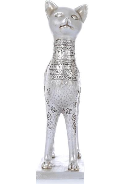 Mossa Home Gümüş Büyük Boy Dekoratif Kedi Biblosu