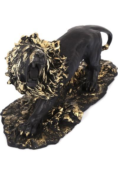 Mossa Home Mat Siyah Dekoratif Aslan Biblosu