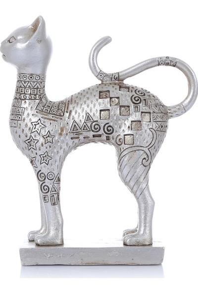 Mossa Home Gümüş Küçük Boy Dekoratif Kedi Biblosu