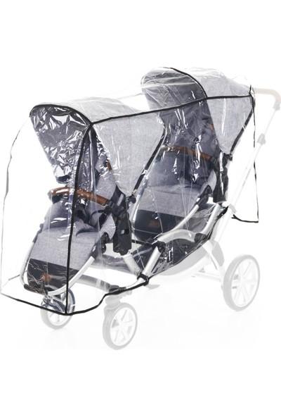 Tommybaby Arka Arkaya ikiz Bebek Arabası Yağmurluğu