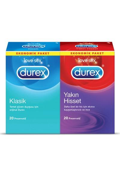 Durex Yakın Hisset +Klasik Prezervatif 40'lı Ekonomik Paket