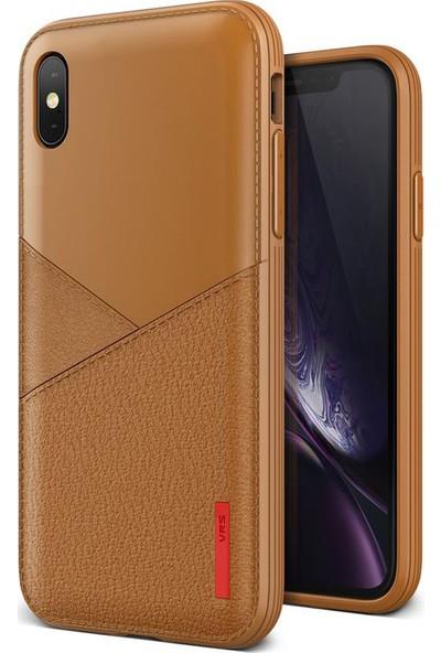 VRS iPhone Xs Max Leather Fit Label Kılıf Brown