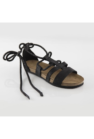ART'iz Troya Deri Siyah Slim Sandalet 37