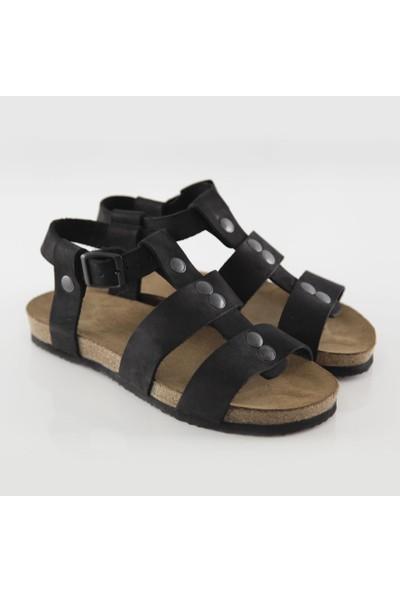 ART'iz Assos Deri Siyah Slim Sandalet 37