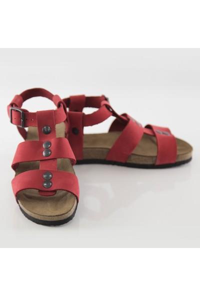 ART'iz Assos Deri Kırmızı Slim Sandalet 38