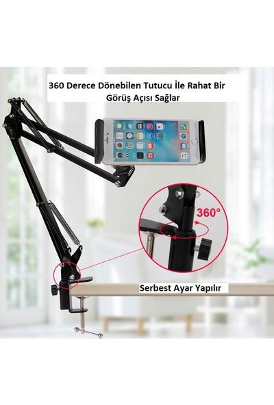 """TriLine 6-11""""Uzun Kollu 360 Derece Dönebilen Masa Telefon TabletTutucu"""