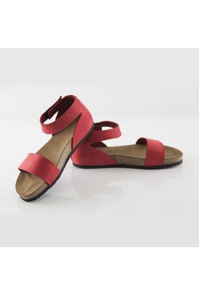 ART'iz Limyra Deri Kırmızı Slim Sandalet 41