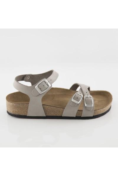 ART'iz Pergamon Deri Gri Çift Şeritli Sandalet 41
