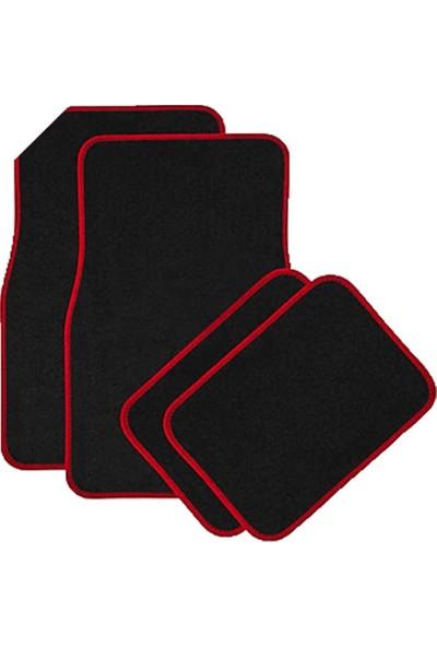 Carneil Siyah Üzeri Kırmızı Sportif Kenarlı 5 Parça Halı Paspas Seti Kaydırmaz Tabanlı Araba Otomobil Paspası B014