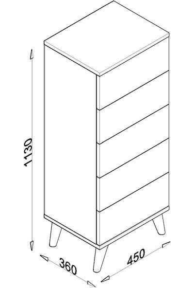 Tocco 1020 Meyra 5 Çekmeceli Komidin - Şifonyer Meşe