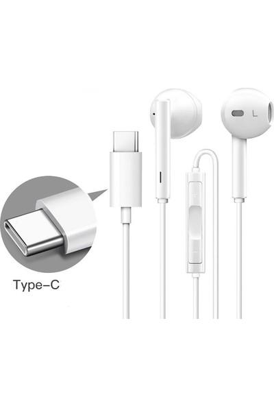 EssLeena Type-C Kulakiçi Mikrofonlu Kulaklık Beyaz