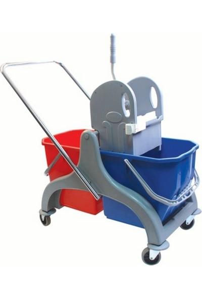 Free Comfort Çift Kovalı Temizlik Arabası Plastik Presli