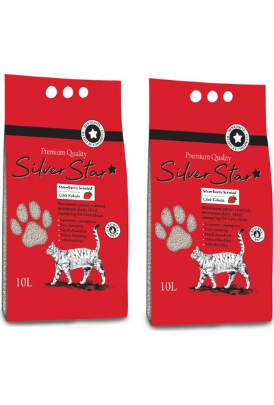 Silverstar Çilek Kokulu Bentonit Ince Taneli Topaklanan Kedi Kumu 10 l 2 Adet