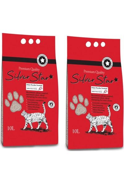 Silverstar Bebek Pudrası Kokulu Bentonit İnce Taneli Topaklanan Kedi Kumu 10 l 2 Adet