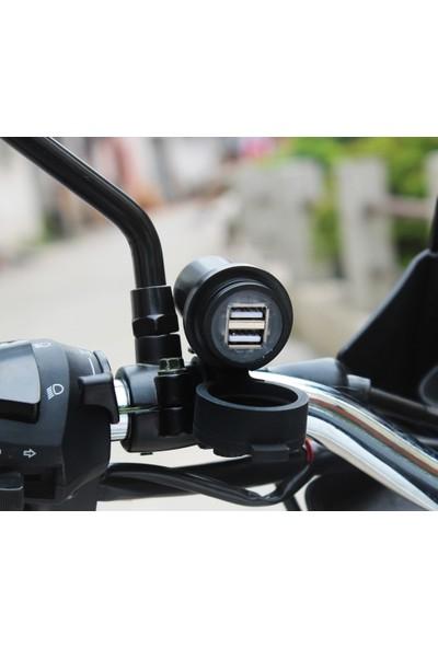 Knmaster Motosiklet Gidon Bağlantılı Çift Usb'li Şarj Portu