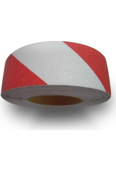 Bant Marketim Kırmızı Beyaz Merdiven ve Zemin Kaydırmaz Kaymaz Bant 50 mm x 25 m