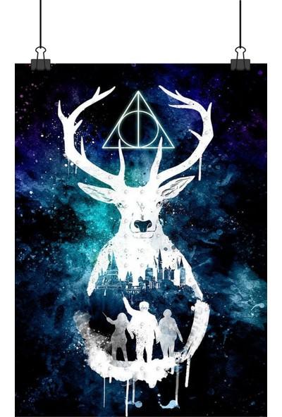 13 Poster Harry Potter Geyikli Üçgenli Boyalı Gibi Tasarım 70 x 50 cm Posteri