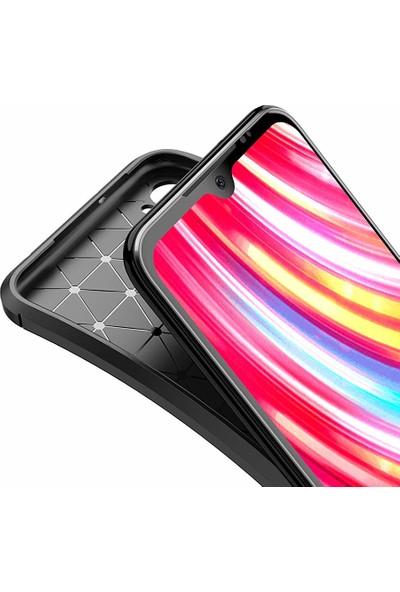 Case 4U Xiaomi Redmi Note 8T Kılıf Karbon Desenli Lux Negro Silikon Arka Kapak Negro + Cam Ekran Koruyucu Siyah