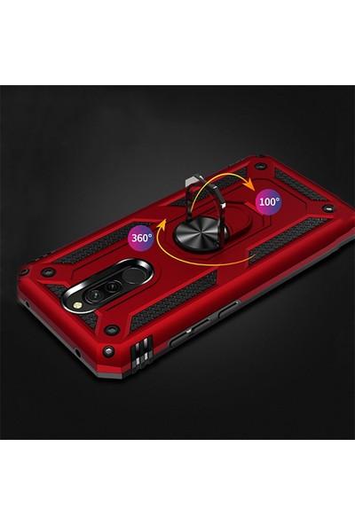 Case 4U Xiaomi Redmi 8 Kılıf Çift Katmanlı Yüzüklü Manyetik Vega Kapak Altın
