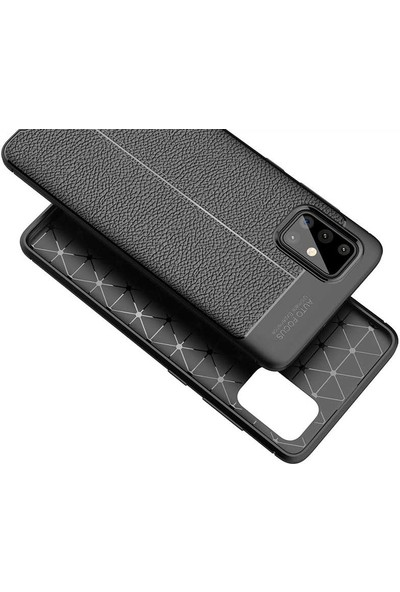 Case 4U Samsung Galaxy A51 Kılıf Karbon Desenli Sert Silikon Arka Kapak Negro + Cam Ekran Koruyucu Siyah
