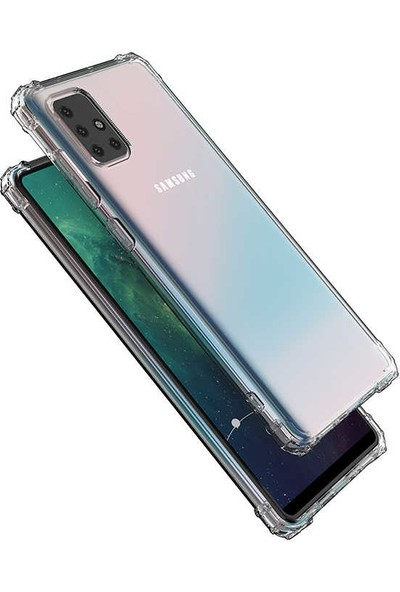 Case 4U Samsung Galaxy A51 Darbe Emici Silikon Kılıf Şeffaf