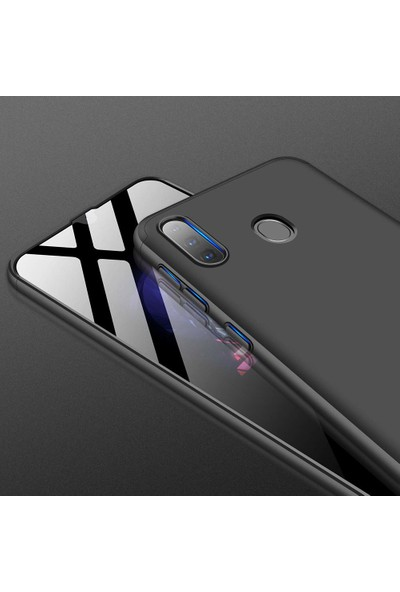 Case 4U Samsung Galaxy A20S Kılıf 360 Derece Korumalı Tam Kapatan Koruyucu Sert Silikon Ays Arka Kapak Siyah - Kırmızı