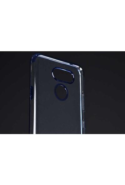 Case 4U LG K40S Kılıf 4 Köşe Renkli Lazer Silikon Arka Kapak - Glitter Siyah