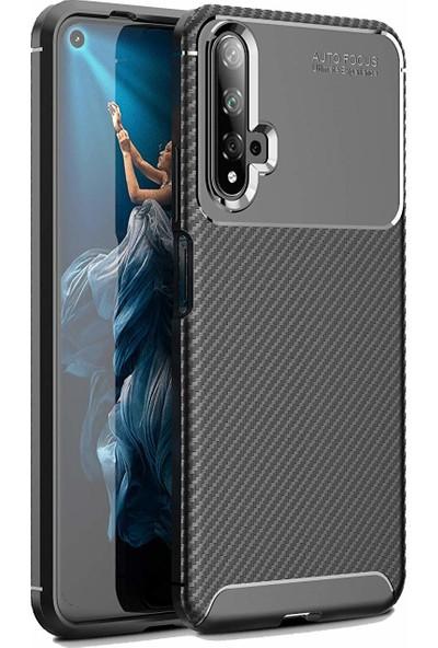 Case 4U Huawei Nova 5T - Honor 20 Kılıf Karbon Desenli Sert Silikon Arka Kapak Negro + Cam Ekran Koruyucu Siyah