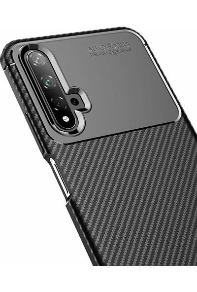 Case 4U Huawei Nova 5T - Honor 20 Kılıf Karbon Desenli Sert Silikon Arka Kapak Negro + Cam Ekran Koruyucu Lacivert