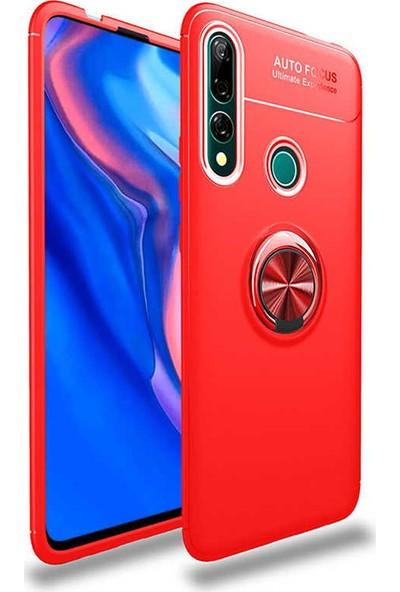 Case 4U Honor 9X - Huawei Y9 Prime 2019 Kılıf Ultra Korumalı Manyetik Ravel Silikon Arka Kapak Kırmızı