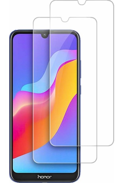 Case 4U Honor 8S - Huawei Y5 2019 Cam Ekran Koruyucu Blue Nano Şeffaf