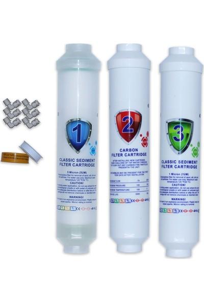 Aqua Clean Su Arıtma Cihazı 3'lü Ön Filtre Seti Bms ve Tüm Tezgah Üstü Cihazlara Uyumludur
