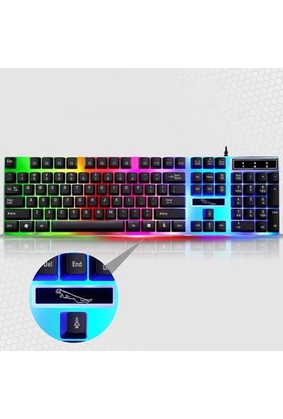 Ally G21 USB Led Işıklı Oyuncu Klavye Ve Mouse Set Al-29790