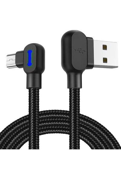 Judas Micro USB 90 Derece Hızlı Şarj ve Data Kablosu 2 mt - Siyah