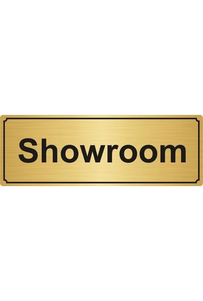 Gift Box Showroom Yönlendirme Levhası 5 x 20 cm Altın Renk