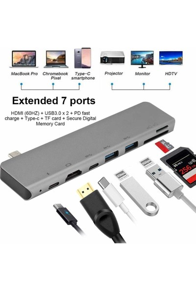 Orite Multifunction--03 7in1 Type-C To 4K HDMI Tv Okuyucu Adaptör