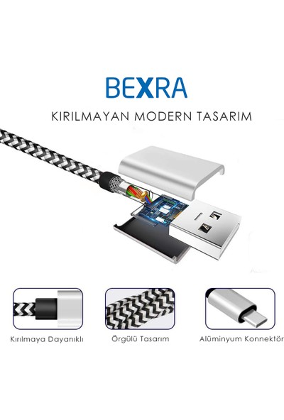 Bexra Micro USB Hızlı Şarj ve Data Kablosu - 1mt