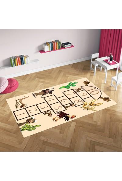 Hometeks Hayvanlar Seksek Desenli Kaymaz Taban Çocuk Odası Halısı 60 x 100 cm