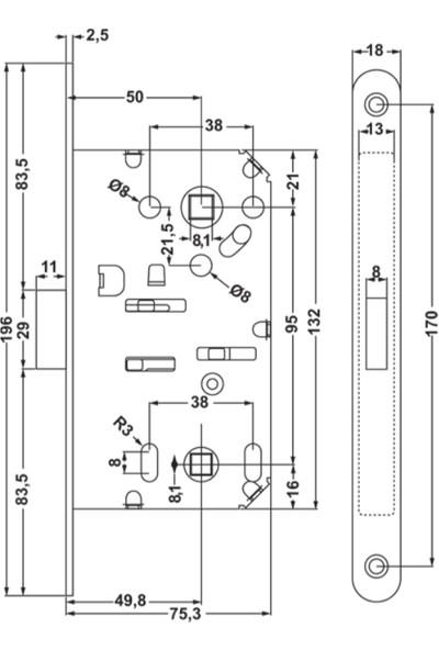 Hafele Mıknatıslı Manyetik Kilit WC Tipi Krom Mat