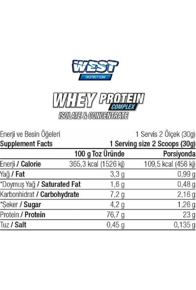 West Nutrition Whey Protein Complex Isolate & Concentrate 1980 gr 66 Servis