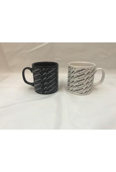 Keramika Atatürk Imza 2'li Kupa 10 cm Siyah Beyaz