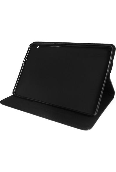 """Microcase Huawei Mediapad T5 10.1"""" Alfa Book Case PU Deri Standlı Kılıf - Siyah"""