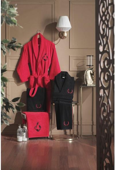 Varol Elegant Aile Bornoz Seti %100 Pamuk - Kırmızı Siyah