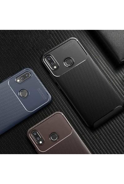 Tekno Grup Oppo A9 2020 Kılıf Karbon Desenli Lux Negro Silikon + Cam Ekran Koruyucu Kahverengi