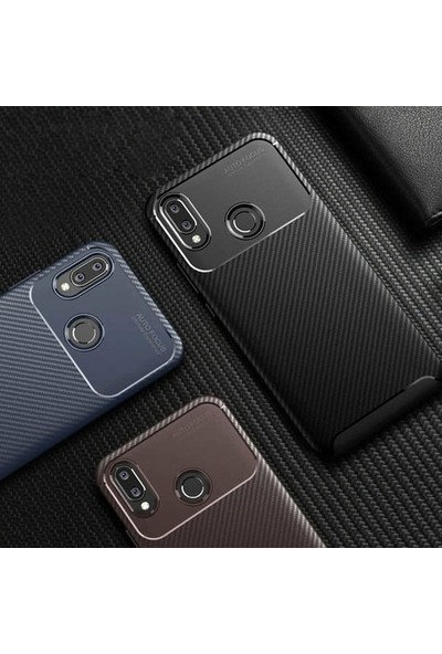 Tekno Grup Oppo Reno Z Kılıf Karbon Desenli Lux Negro Silikon + Cam Ekran Koruyucu Kahverengi