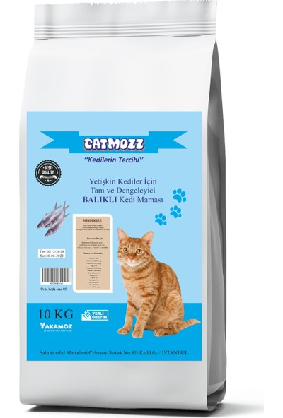 Cat Mozz Balıklı Yetişkin Kedi Maması 10 kg