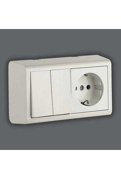 ovivo Nivo Sıvaüstü Komutator + Topraklı Priz Beyaz