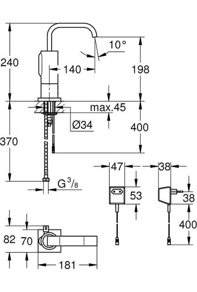Grohe Fotoselli Lavabo Bataryası Elektrikli çift sugiriş 36095000